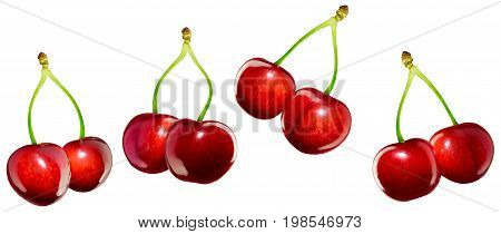 Cherries isolated on white, macro food background