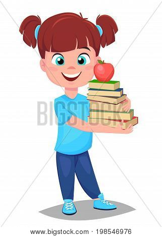 Back to school. Cute girl in casual clothes holding a stack of book. Pretty little schoolgirl. Cheerful cartoon character. Vector illustration