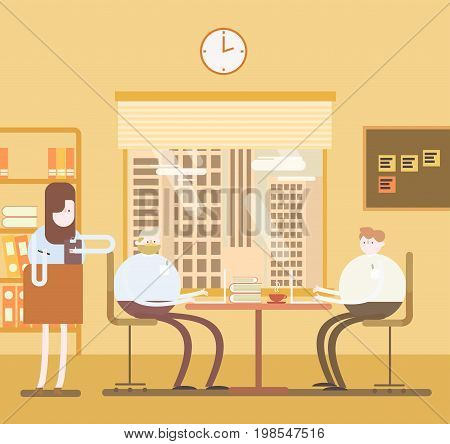 Team offices work. Shared working environment. Working at the computers in the open space office. Flat design style. For web banner animation in CSS SVG graphics