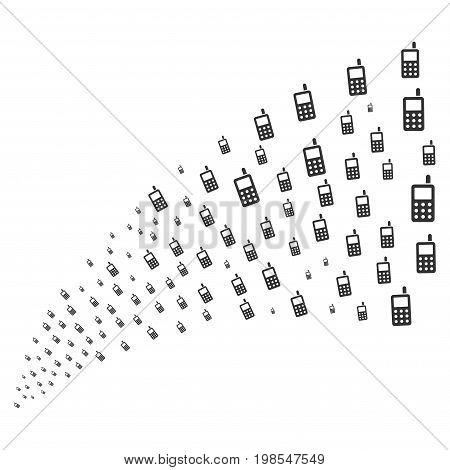 Source of cell phone symbols. Vector illustration style is flat gray iconic cell phone symbols on a white background. Object fountain organized from pictograms.