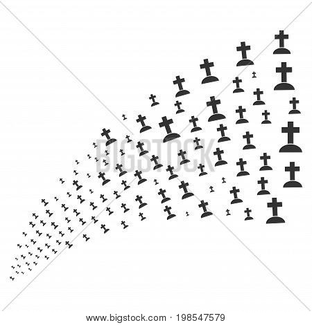 Source stream of cemetery symbols. Vector illustration style is flat gray iconic cemetery symbols on a white background. Object fountain done from pictographs.