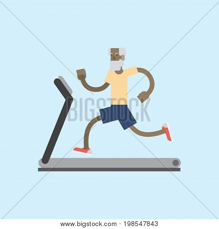 Vector illustration cute cartoon grandfather running on treadmill. Sporty old man on training apparatus running track. Isolated white background. Flat style. old man on a treadmill
