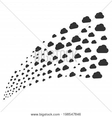Source of cloud icons. Vector illustration style is flat gray iconic cloud symbols on a white background. Object fountain made from icons.