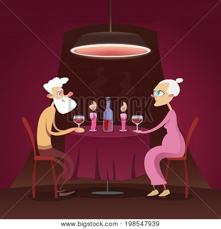 romantic dinner elderly. Love through the ages is not quenched