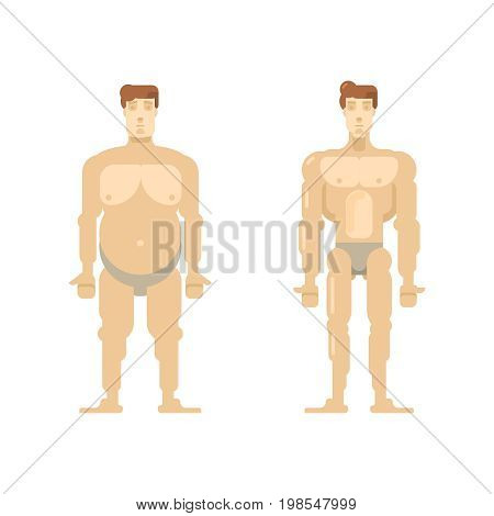 Men before and after. vector illustrator. bring the figure in order. body Transformation