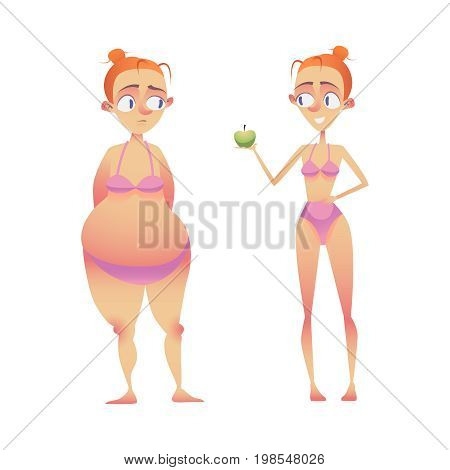 woman before and after. body Transformation. vector illustrator