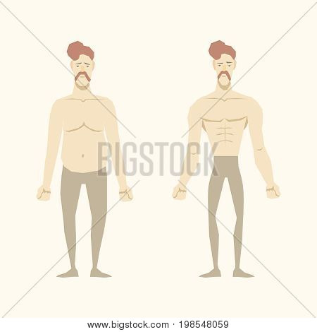 Men before and after. Body Transformation. Vector illustrator