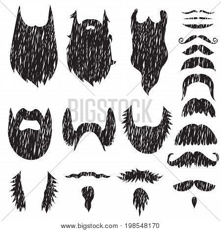 Hand drawn textured mustache silhouettes set. Vector Illustration.