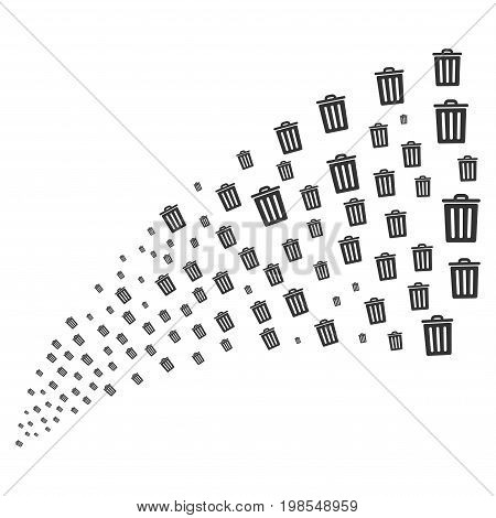 Source stream of dustbin icons. Vector illustration style is flat gray iconic dustbin symbols on a white background. Object fountain made from pictographs.