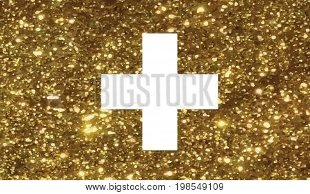 Luxury Golden Glitter Swiss Switzerland Country Flag Icon