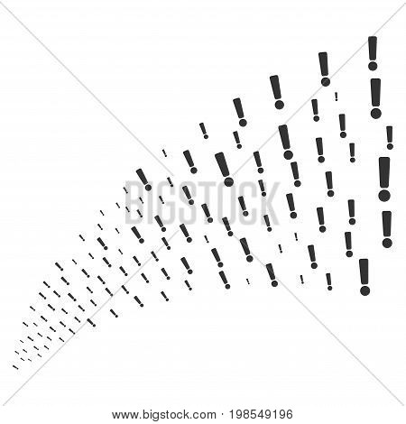 Source stream of exclamation sign icons. Vector illustration style is flat gray iconic exclamation sign symbols on a white background. Object fountain combined from pictographs.