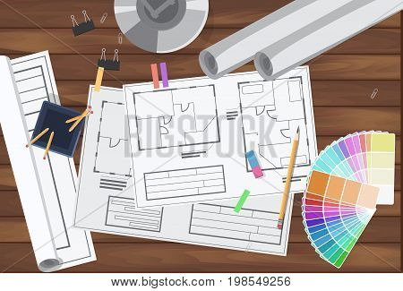 Architecture technical engineering drawing plan. Vector illustration