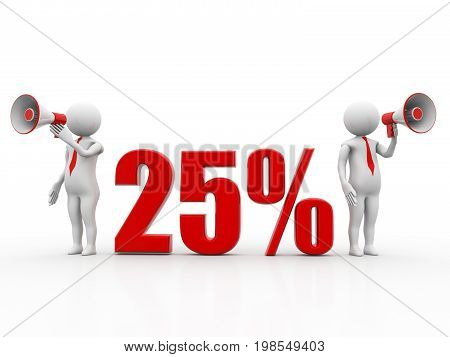3d illustration. White man 25% discount sale announcement with megaphone. discount concept on white background