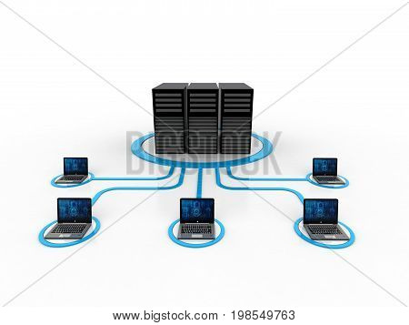 Computer Network isolated in white background. 3d rendering