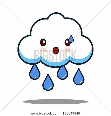 cute cloud rain kawaii face icon cartoon character Flat design Vector Illustration
