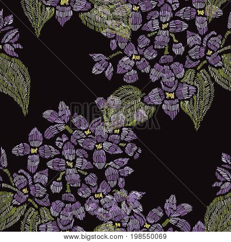 Elegant seamless pattern with hand drawn decorative lilac flowers design elements. Floral pattern for invitations cards wallpapers print gift wrap manufacturing fabrics. Embroidery style