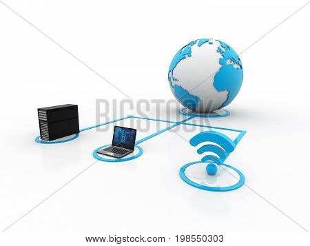 Computer Network and internet communication concept 3d rendering