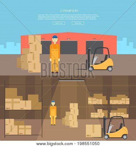 transportation of cargo logistics center. Goods delivery. Warehouse with loading truck and working forklift. Modern flat style