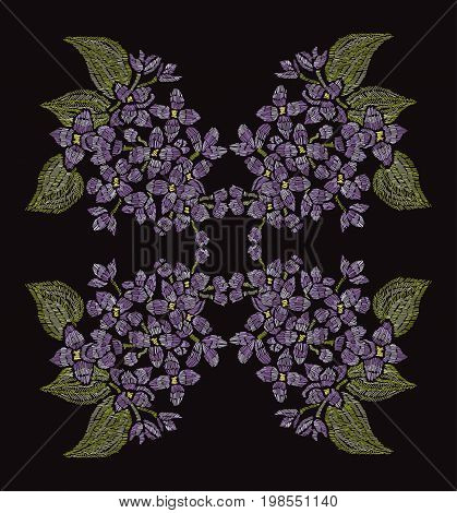 Elegant hand drawn decoration with lilac flowers in embroidery style design element. Can be used for fashion ornaments fabrics manufacturing clothing design