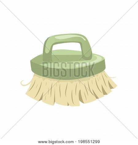 Cartoon vintage trendy icon of cleaning bristle brush. Housework vector simple gradient icon. green handle.