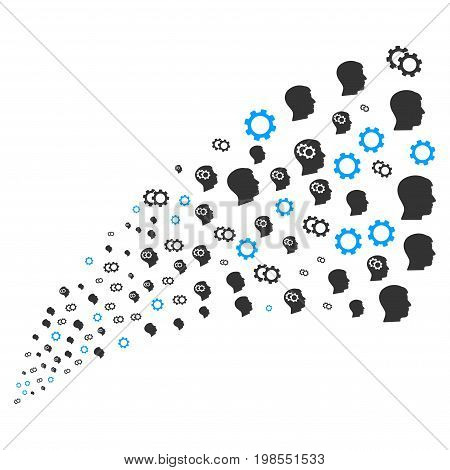 Fountain of intellect gears icons. Vector illustration style is flat gray iconic intellect gears symbols on a white background. Object fountain combined from icons.