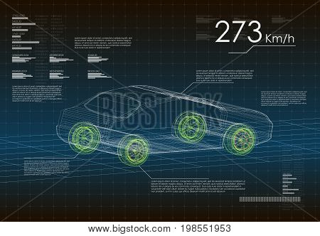 Innovative technology development and product analysis in HUD style. the design of the wheels and braking system intelligent autopilot cars. Electric car ecological fuel