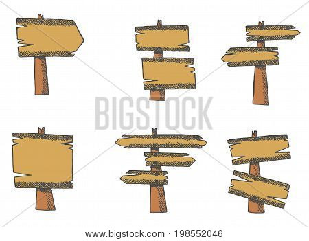 Set of wooden direction indicators or pointers. Wooden arrows. Hand drawn vector
