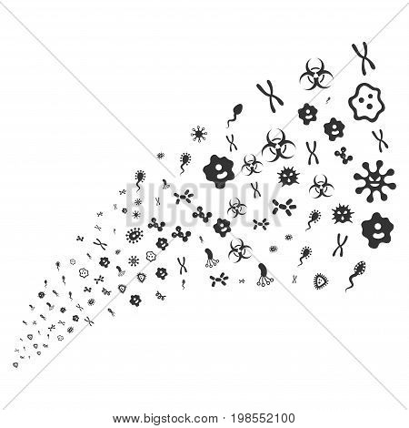 Source of microbes symbols. Vector illustration style is flat gray iconic microbes symbols on a white background. Object fountain organized from pictographs.