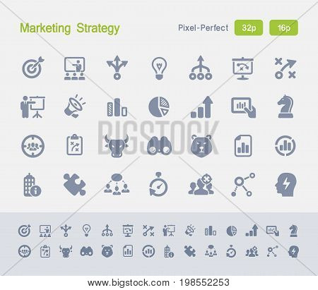Marketing Strategy | Granite Icons - 28 professional pixel-perfect vector icons designed on a 32x32 pixel grid and redesigned on a 16x16 pixel grid for very small sizes.