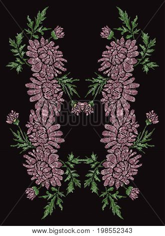 Elegant hand drawn decoration with chrysanthemum flowers in embroidery style design element. Can be used for fashion ornaments fabrics manufacturing clothing design