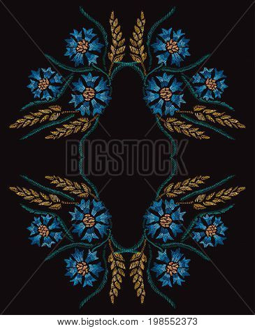 Elegant hand drawn decoration with cornflowers and wheat in embroidery style design element. Can be used for fashion ornaments fabrics manufacturing clothing design
