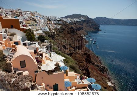 Santorini Island, View Of The Caldera From The Village Of Oia
