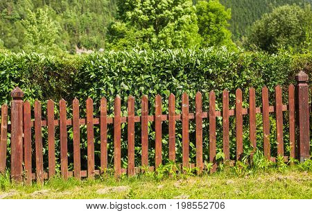 wood fence perspective view on the contryside