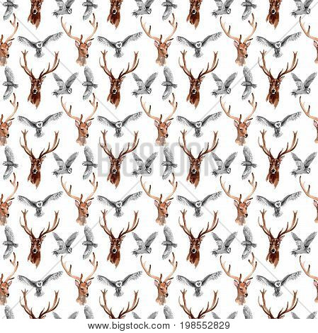 Reindeer wild animal pattern in a watercolor style. Full name of the animal: reindeer. Aquarelle wild animal for background, texture, wrapper pattern or tattoo.