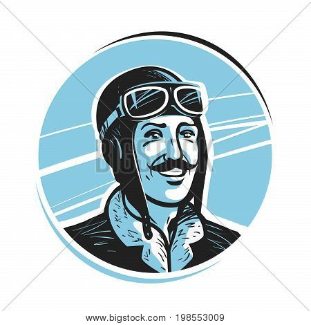 Portrait of happy pilot in cap. Aviator, airman label or logo. Mascot vector illustration isolated on white background