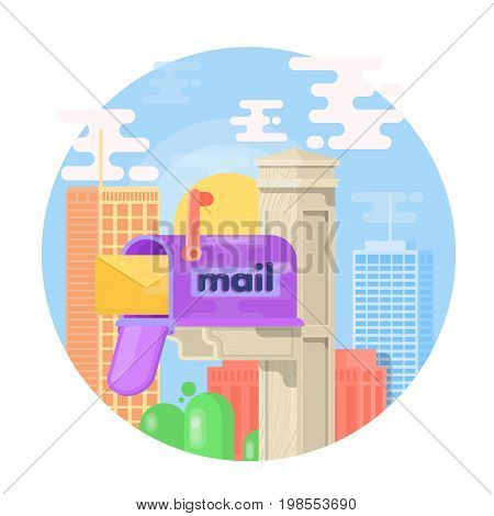 Open mail box with an envelope on the cover isolated from background. Mail box flat vector illustration