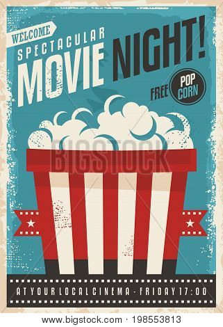 Movie cinema night retro poster design. Popcorn graphic with film strip entertainment brochure template.