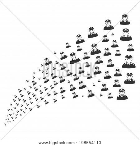 Fountain of soldier icons. Vector illustration style is flat gray iconic soldier symbols on a white background. Object fountain created from icons.