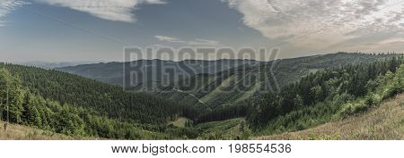 View for Slovakia from Hricovec hill in Kysuce mountains