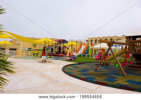 Sharm El Sheikh, Egypt - April 13, 2017: The playground at luxury five star hotel RIXOS SEAGATE SHARM at Sharm El Sheikh, Egypt on April 13, 2017