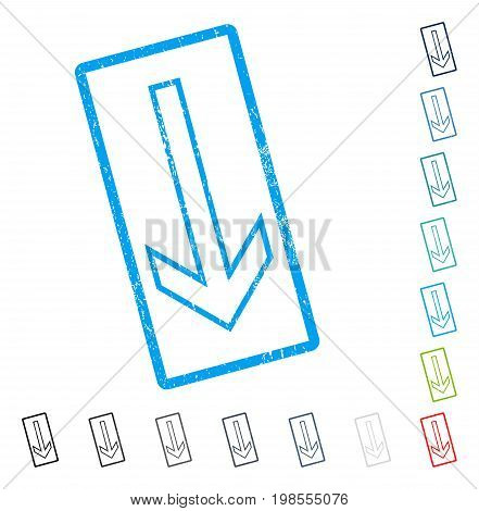 Arrow Down rubber watermark in some color versions.. Vector pictogram symbol inside rounded rectangular frame with grunge design and unclean texture. Stamp seal illustration, unclean sticker.