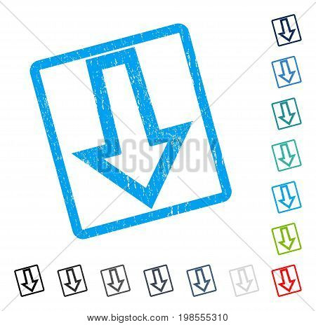 Arrow Down rubber watermark in some color versions.. Vector pictogram symbol inside rounded rectangle with grunge design and unclean texture. Stamp seal illustration, unclean emblem.