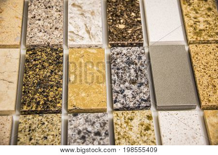 Worktops, Granite worktops, Marble worktops, Quartz worktops, rectangular color samples of marble and granite kitchen worktops