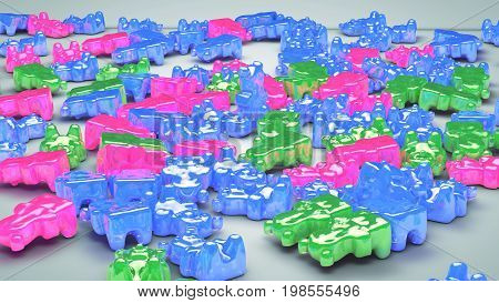 3D illustration of Gummy bear candy, jelly bears