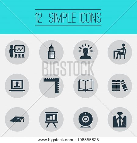 Elements Elegant Style, Profile, Employee And Other Synonyms Measurement, Finance And Row.  Vector Illustration Set Of Simple Training Icons.
