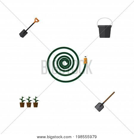 Flat Icon Garden Set Of Hosepipe, Pail, Spade And Other Vector Objects