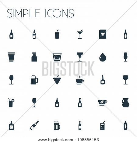 Elements Pitcher, Liquor, Cocktail And Other Synonyms Cappuchino, Jug And Liquid.  Vector Illustration Set Of Simple Beverage Icons.