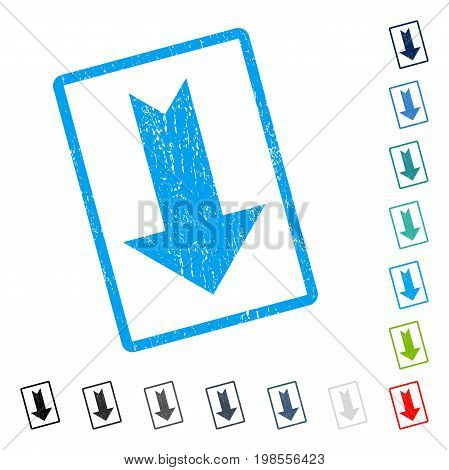 Arrow Down rubber watermark in some color versions.. Vector icon symbol inside rounded rectangle with grunge design and dust texture. Stamp seal illustration, unclean emblem.