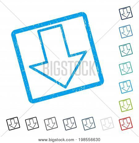 Arrow Down rubber watermark in some color versions.. Vector icon symbol inside rounded rectangle with grunge design and unclean texture. Stamp seal illustration, unclean sticker.