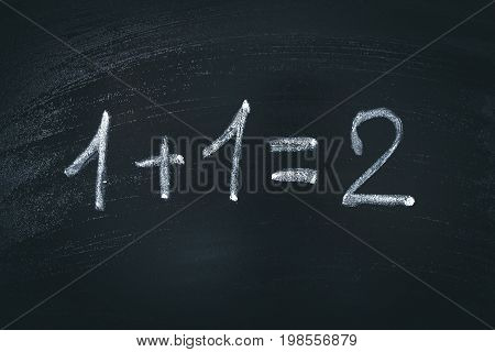 Math Simple Equation On Chalk Board. One Plus One Equals Two